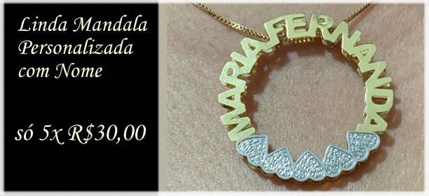 Mandala Personalizada com Nome Banhada a Ouro 18K